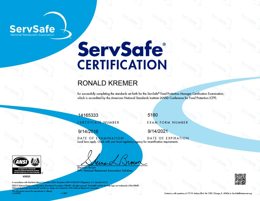 ServSafe Manager Certificate