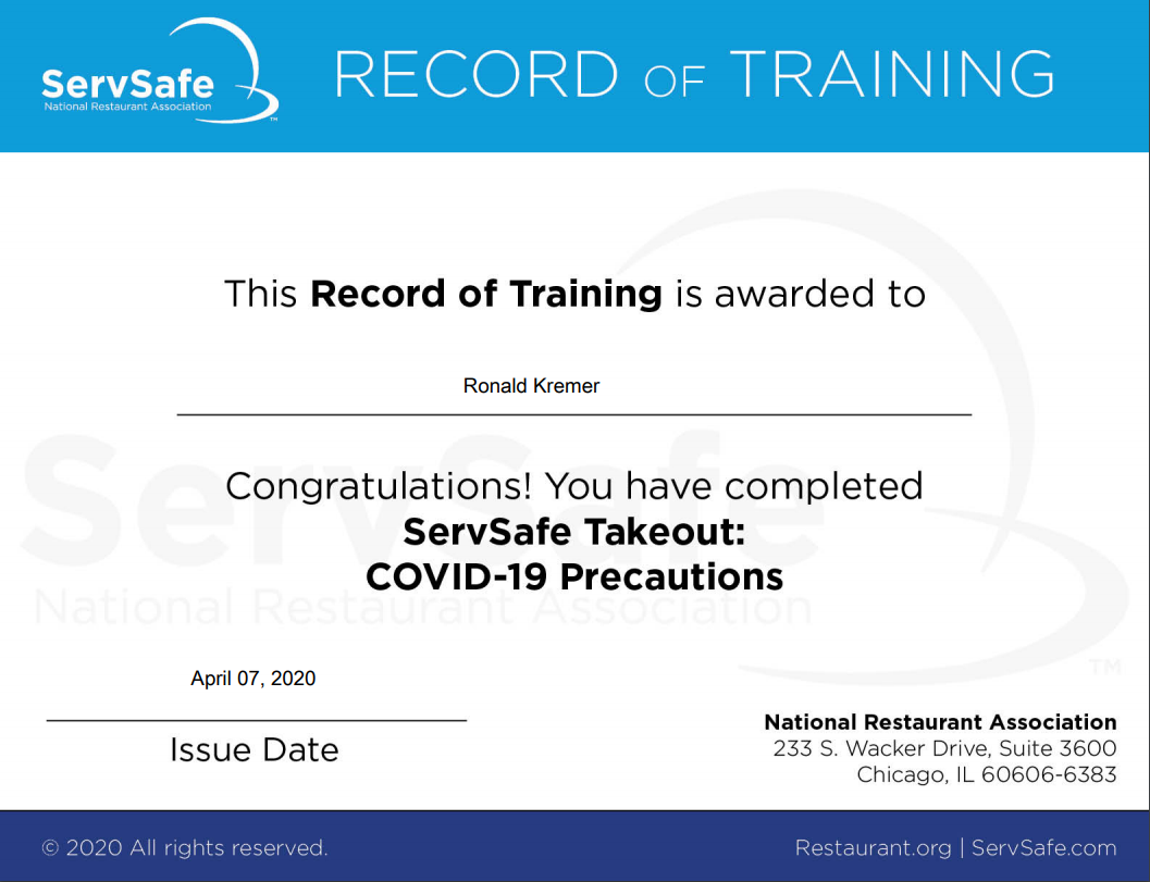 ServSafe Covid-19 Takeout Record of Training