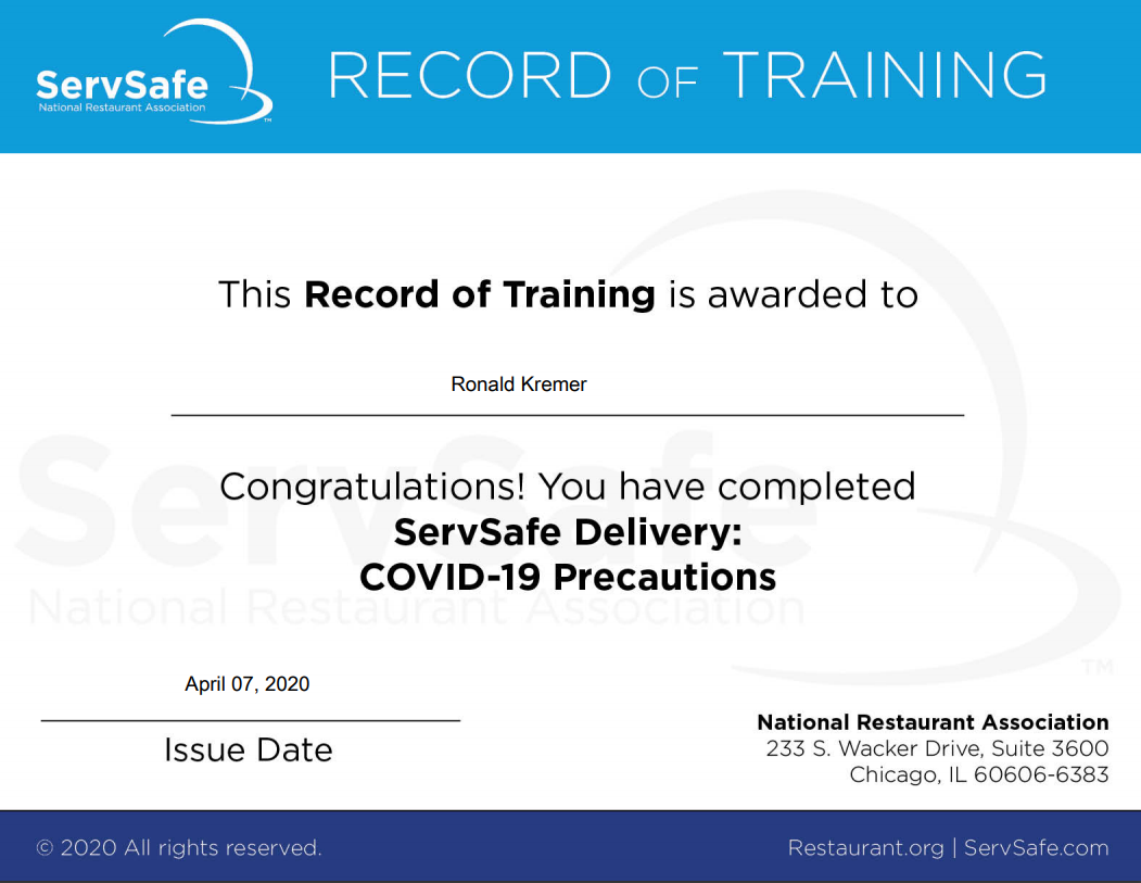 ServSafe Covid-19 Delivery Record of Training